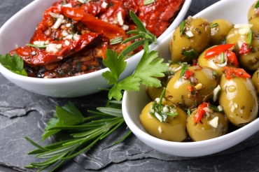 Pickled olives and tomatoes